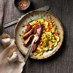 Southwestern Beef Steak with Succotash Saute recipe