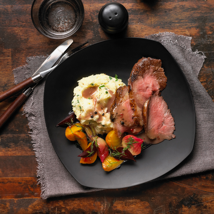 Roast Beef with Peppercorn Wine Sauce and Make-ahead Glazed Beets Recipe