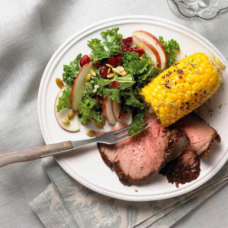 Beer-Soaked Beef Rotisserie Roast with Skillet Corn and Kale Salad Recipe