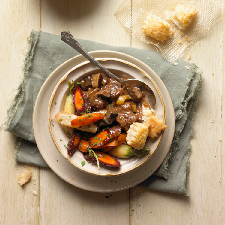 Beef and Mushroom Stew with Glazed Carrots and Puffed Pastry Crouton Recipe