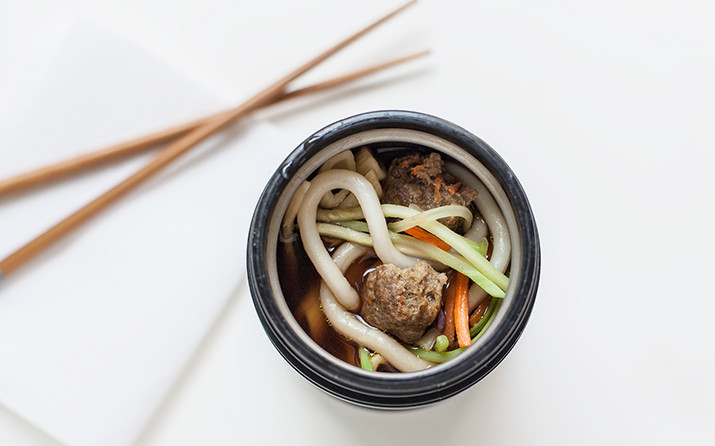 Asian Noodle and Meatball Soup for healthy school lunches