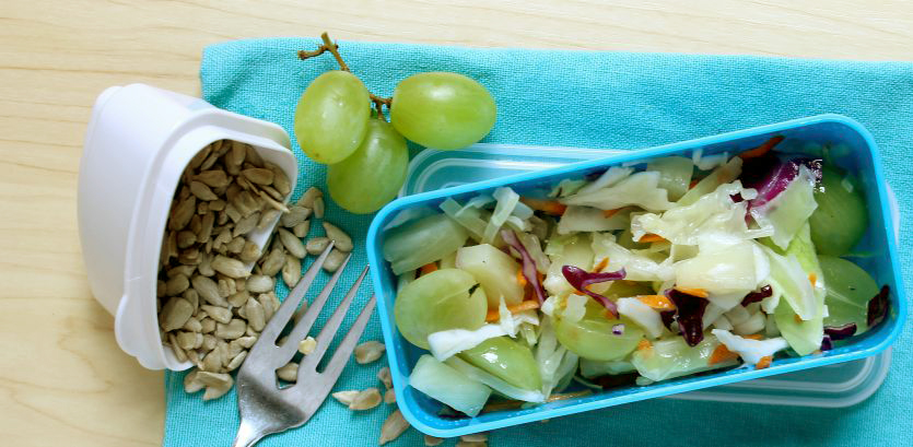 Fruity coleslaw for healthy kids school lunches