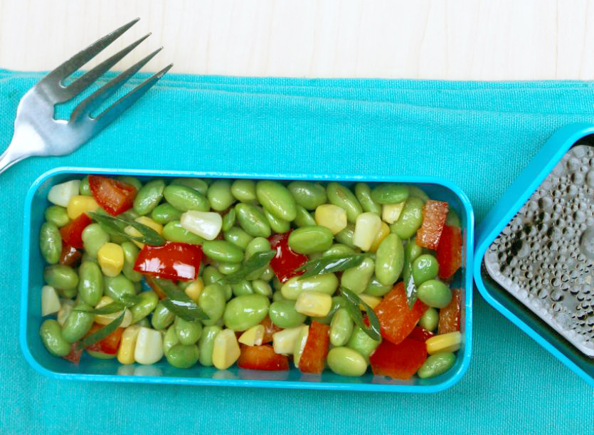 Protein-packed edamame school lunch salad