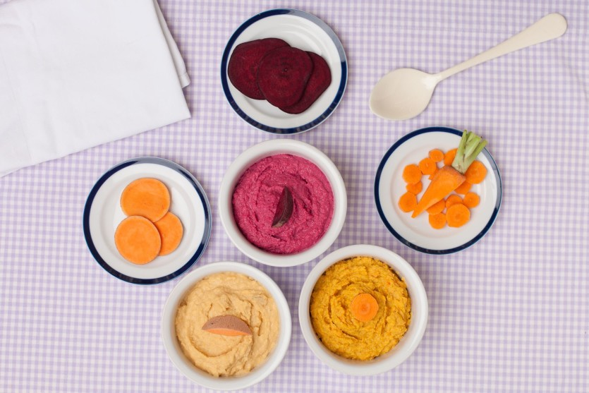 Vegetable hummus, sweet potato, beet, carrot, healthy school lunches