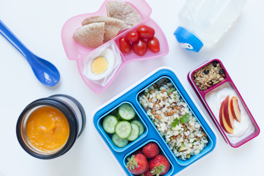 healthy kids lunch with carrot soup