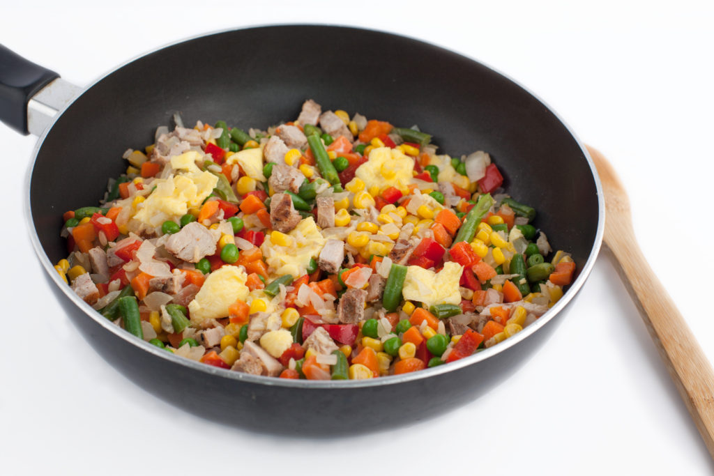 cooked vegetable-egg fried rice in a skillet