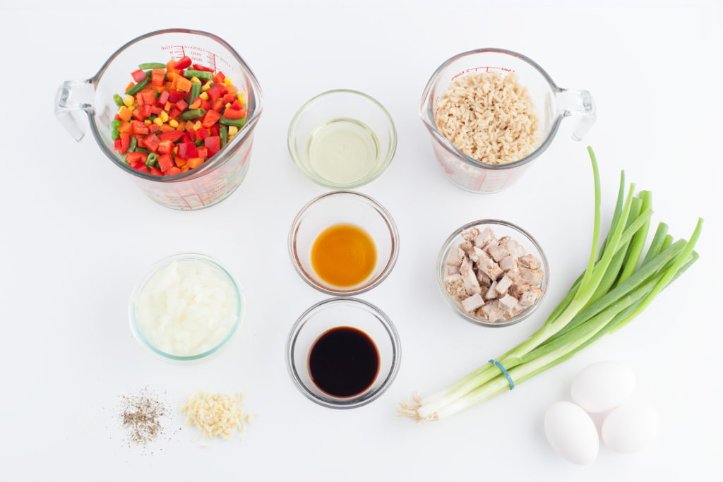 ingredients to make fried rice for school lunches