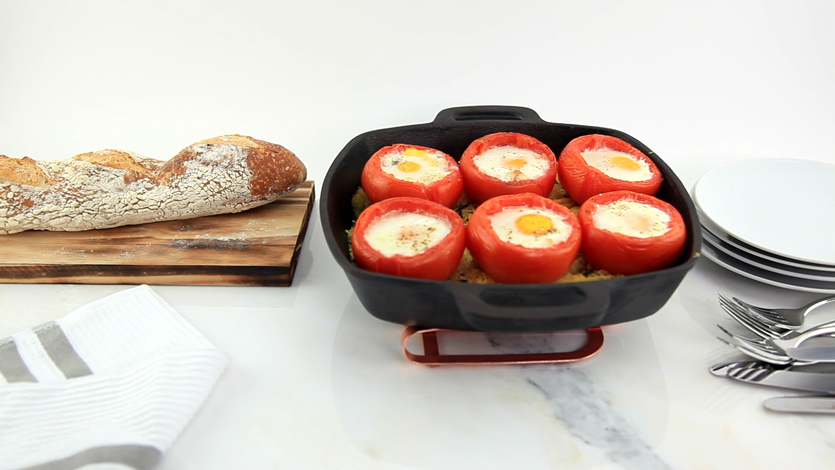 Baked Eggs in Tomatoes over Buttery Spaghetti Squash