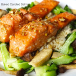 salmon mushrooms and bok choy