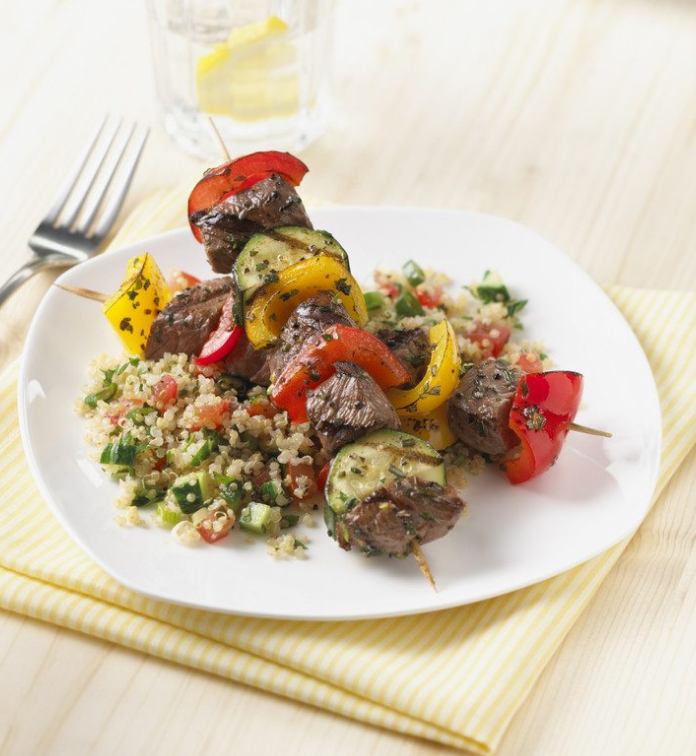 Tuscan Beef Kabobs with Quinoa Tabouleh