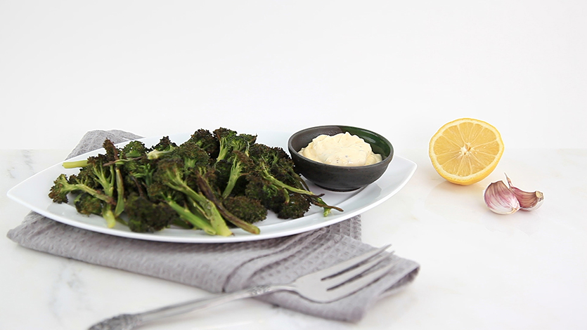 Roasted broccoli with lemon aioli